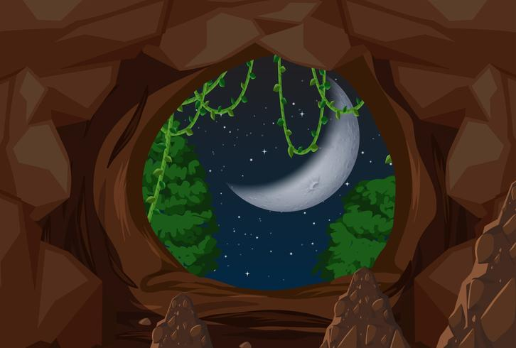 Entrance to cave night scene vector