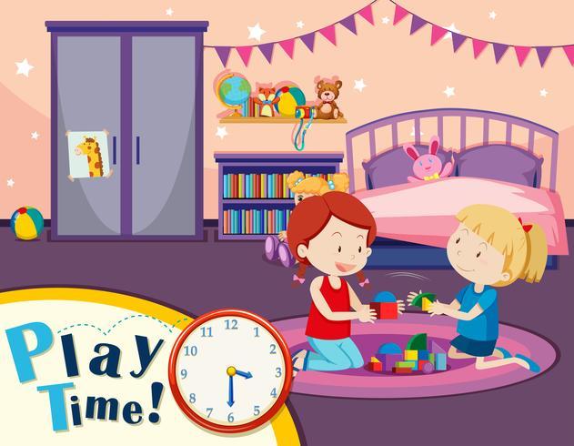 Meninas, brinquedos jogando, em, quarto