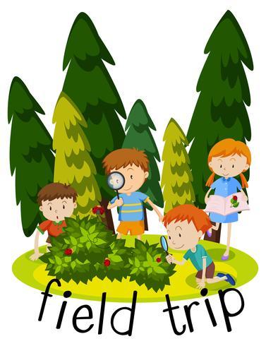 Flashcard para viagem de campo com crianças aprendendo no jardim