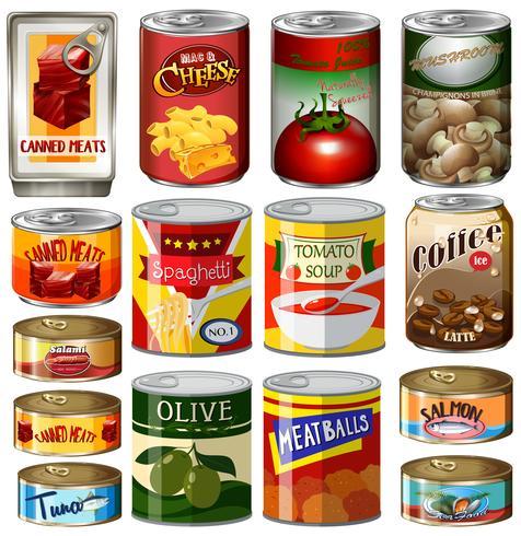 Différents types de nourriture en boîte