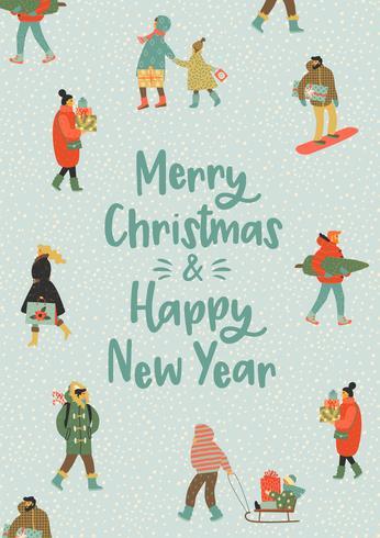 Navidad y feliz año nuevo ilustración pizca personas. Estilo retro de moda.