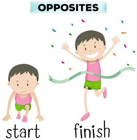 Gegenüberliegende Wörter für Start und Ziel