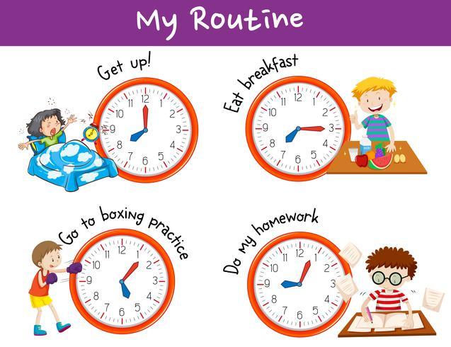 Diferentes horarios y actividades para niños.