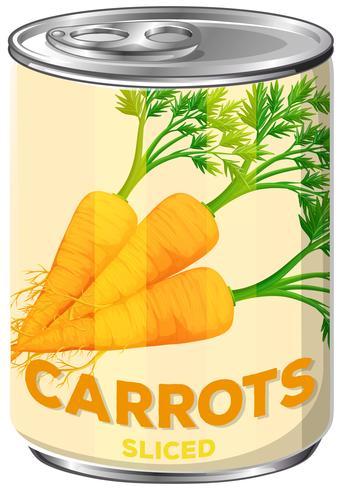 Een blikje gesneden wortelen