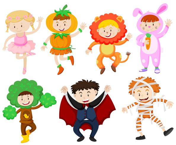 Många barn i olika kostymer