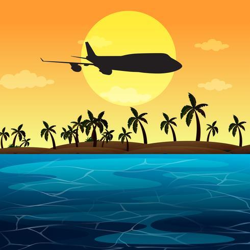 Scena della siluetta con l'aeroplano che sorvola l'oceano