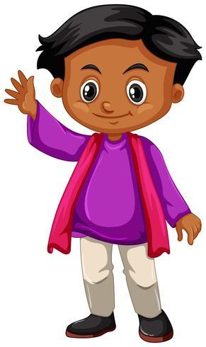 Kleiner Junge in der wellenartig bewegenden Hand des purpurroten Hemdes