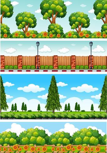 Quatro cenas da natureza com árvores e flores