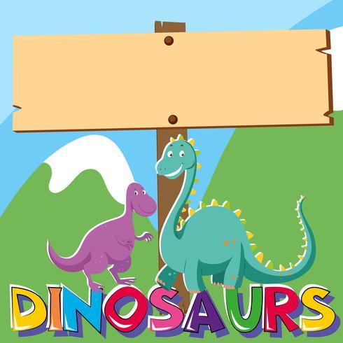 Placa de madeira com dois dinossauros