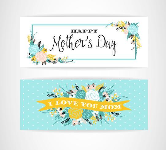 Feliz dia das mães lettering saudação banner com flores.