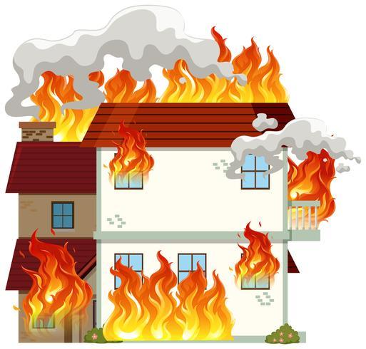Casa moderna isolata in fiamme vettore
