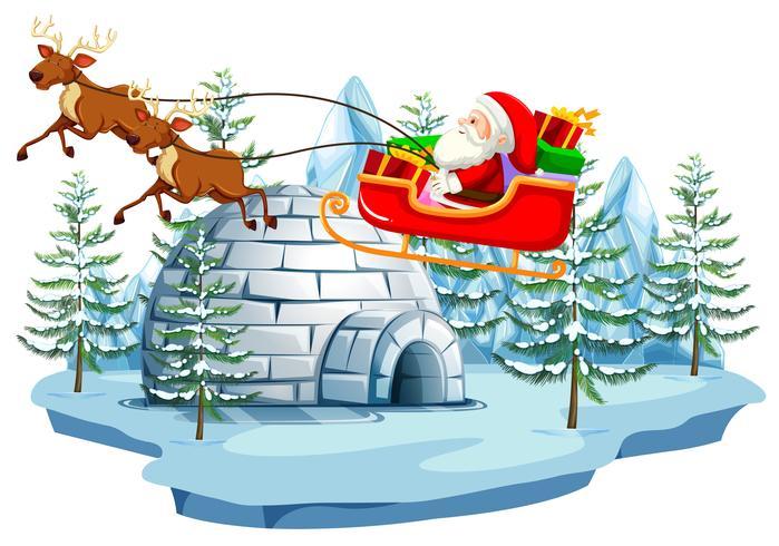 Babbo Natale e slitta con igloo