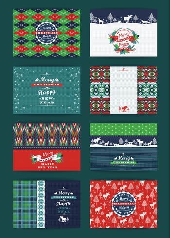 Kerstmis en Nieuwjaar Set. Geruite en gebreide achtergronden.