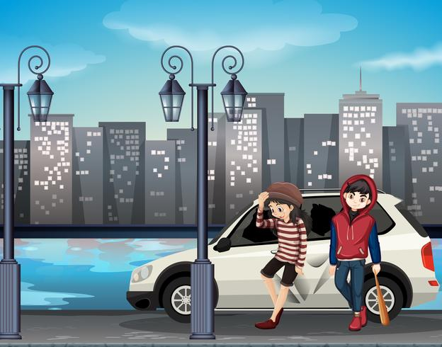 Bad street kids scene vector