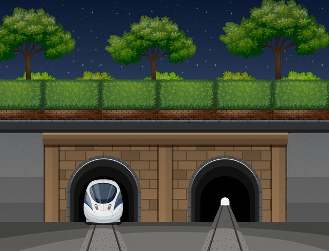 An underground train transportation