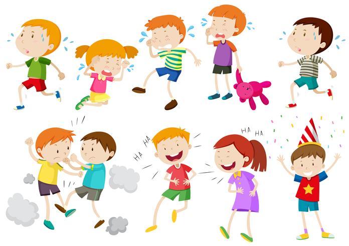 Sats av barn som gråter och slåss