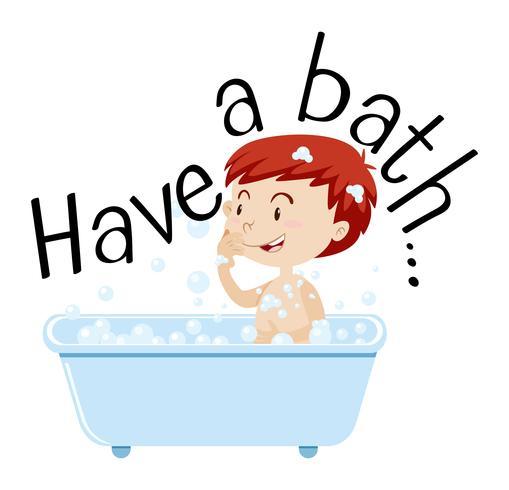 Jongen die bad in badkuip neemt