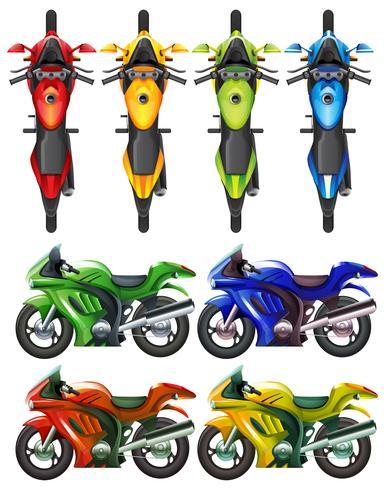 Conjunto de motocicleta em muitas cores