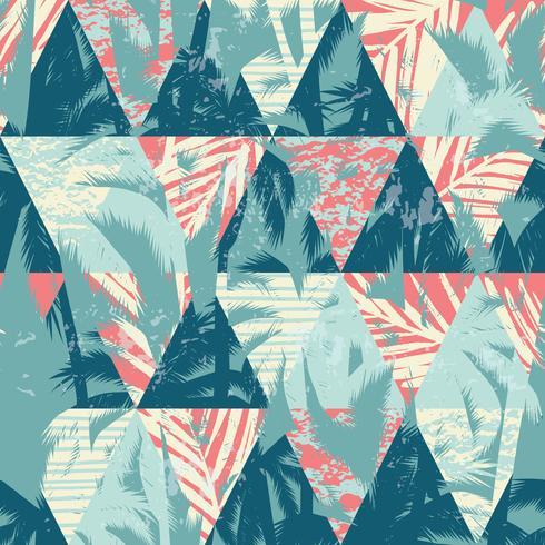 Sin fisuras patrón exótico con hojas de palma en el fondo geométrico