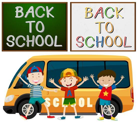 Ritorno al tema della scuola con i bambini e il furgone della scuola