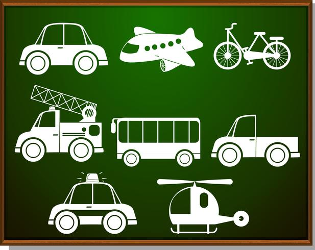 Transportations silhouette on blackboard - Download Free Vector Art, Stock Graphics & Images