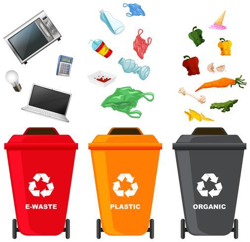 Jogo, de, diferente, caixa lixo vetor