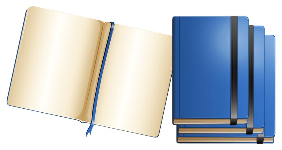 Cadernos azuis em tamanhos diferentes