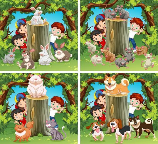 Barn och vilda djur i skogen