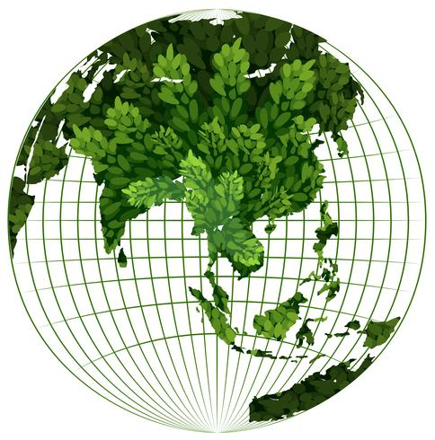 Milieuthema met plant op aarde