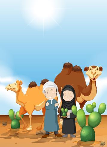 Pueblo árabe y camello en tierra desértica.