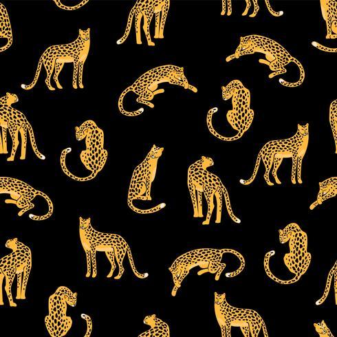 Naadloos exotisch patroon met abstracte silhouetten van luipaarden.