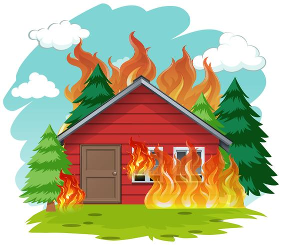 Casa de cabine isolada em chamas