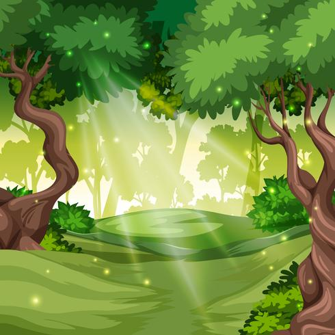 A green forest background vector
