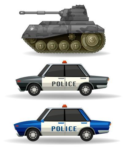 Polizeiautos und Militärpanzer