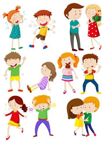 Crianças, com, diferente, emoções