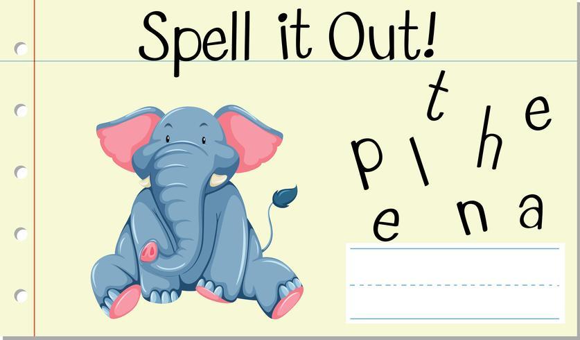 Soletrar palavra Inglês elefante