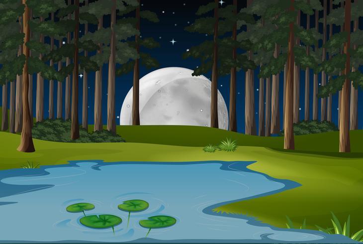 Scène de la nature avec la pleine lune et un étang en forêt