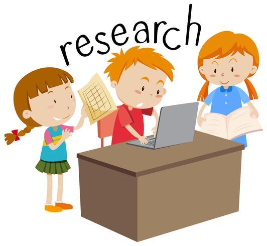 Niños haciendo investigación educación flashcard