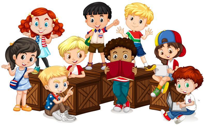Groupe d'enfants internationaux
