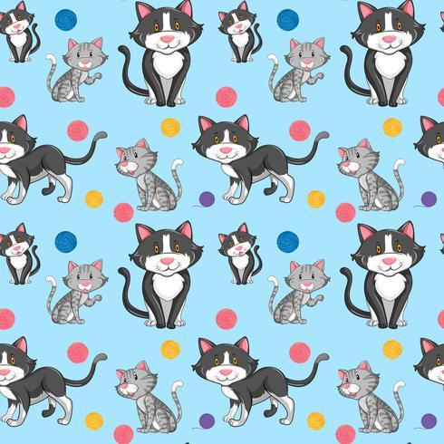 Unterschiedliche Katze auf nahtlosem Muster