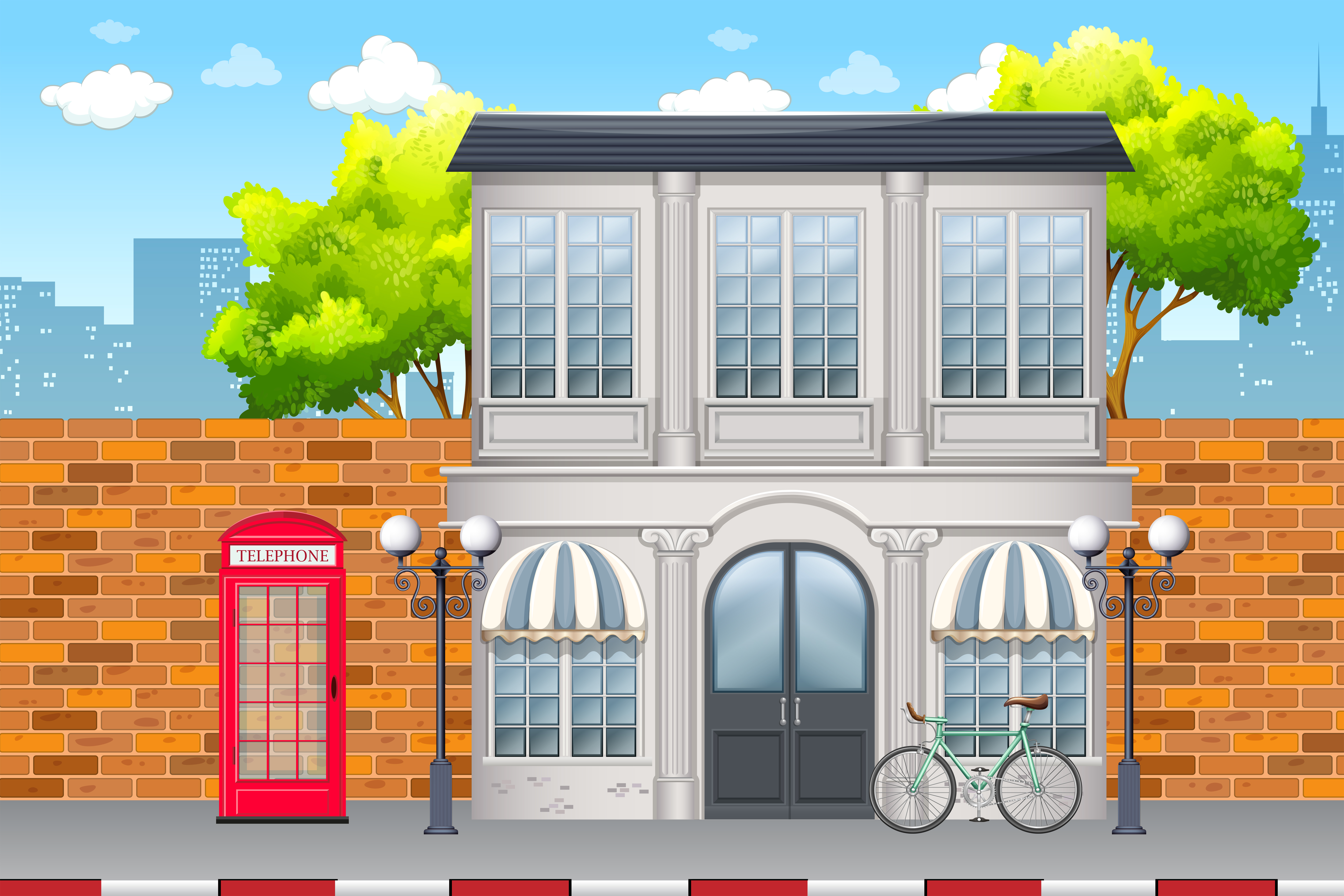 Urban street day time scene download free vector art for Home design 3d professional italiano gratis