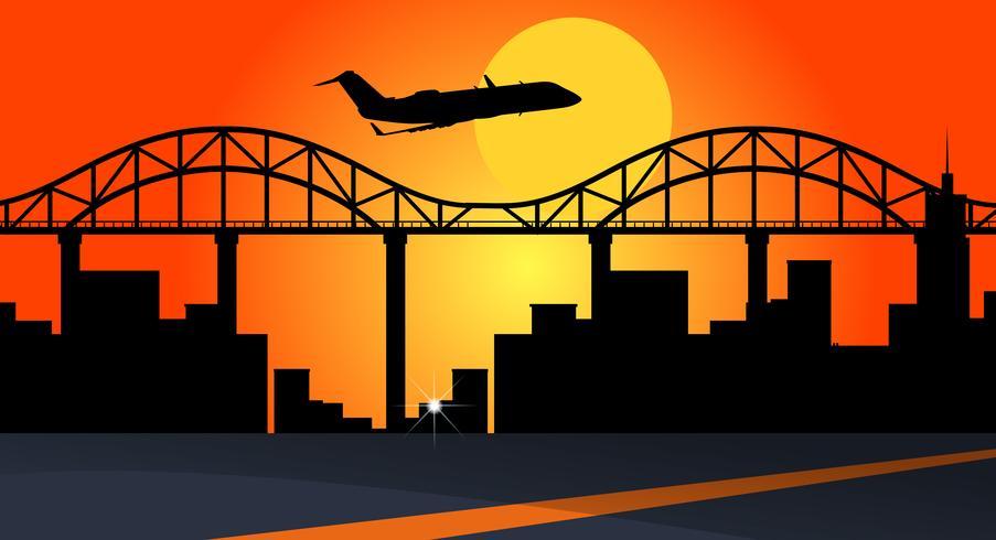 Bakgrundsscen med flygplan som flyger över stadsbyggnader