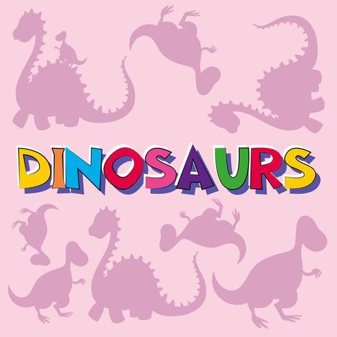 Dinossauros, com, silueta, criaturas, em, fundo