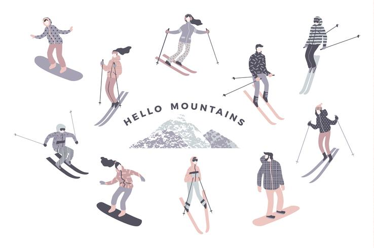 Illustration vectorielle des skieurs et des snowboarders.
