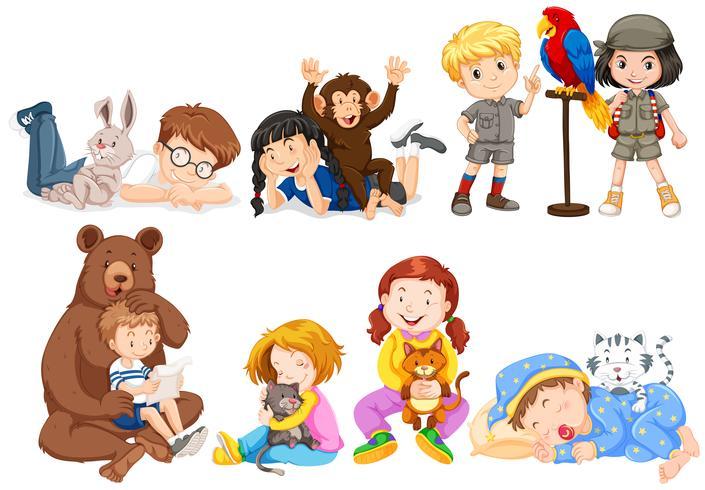 Kinder und viele Arten von Haustieren