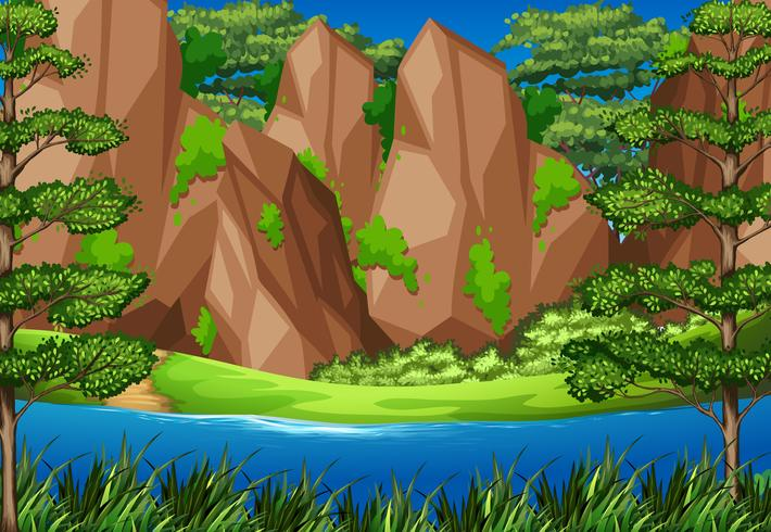 Scena del fiume con le montagne nella foresta