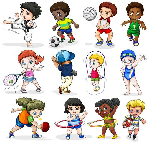 Crianças participando de diferentes atividades esportivas