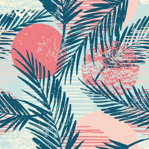 Trendy seamless exotic pattern with palm and geometric elements. vector