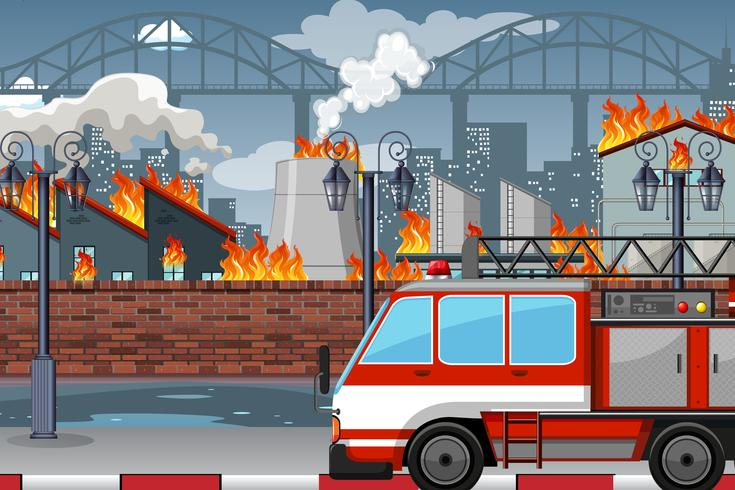Een brand in de fabriek
