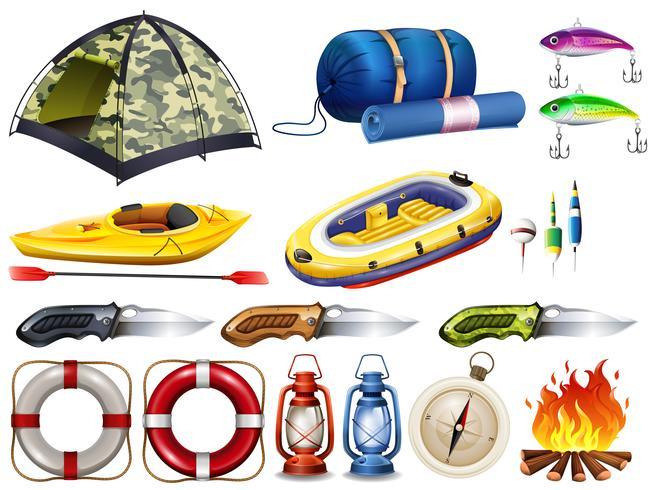 Set de camping con tienda y otros equipos.